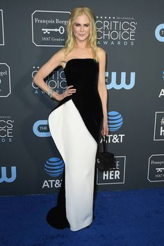 Nicole Kidman wearing a strapless, asymmetric Armani Privé gown at the Critics Choice Awards Charlize Theron, Nicole Kidman, Constance Wu, Lady Gaga, Glenn Close, Critic Choice Awards, Critics Choice, Ellie Saab, Olivia Munn