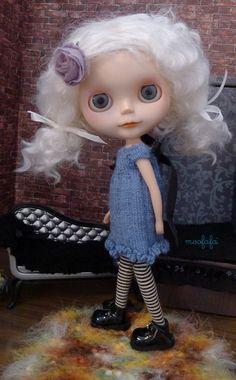 Steel Blue Sweater Dress  short sleeves   Blythe by moofafa