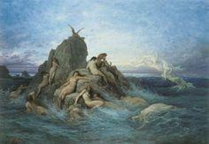 Filles de Thétys et de l'Océan, les Océanides sont les nymphes des profondeurs marines et les sœurs des dieux fleuves. Gardiennes des eaux terrestres et souterraines qui couvrent et entourent la vaste terre, elles veillent sur les gouffres écumants... zimzimcarillon.canalblog.com | Les Oceánides de Gustave Doré, 1860.