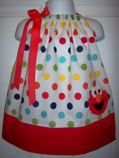Elmo Pillowcase Dress White with Primary Rainbow by molliepops, $28.00
