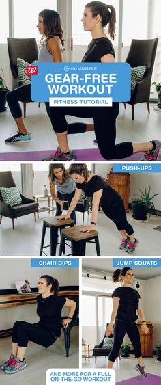 Don't have time to hit the gym? Repeat this workout twice for an effective 10-minute energy boost on the go. Add jump squats for some calorie-burning cardio: 1) In a wide stance, bend legs to a squat. 2) Push up into the air, using arms for momentum. 3) Bend back to squat position & repeat. Click to download the Walgreens app and start tracking your steps today!