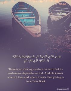 And there is no creature on earth but that upon Allah is its provision, and He knows its place of dwelling and place of storage. All is in a clear register.