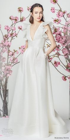 marchesa notte spring 2018 bridal butterfly sleeves deep v neckline simple elegant a  line wedding dress with pockets sweep train (4) mv -- Marchesa Notte Spring 2018 Wedding Dresses