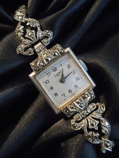 1940s Art Deco watch,Marcasite & 925 Sterling Silver ,Made by LUPUS,Swiss,WORKS!
