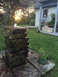 Made this fountain for my father when I was 16 now 15 years later its still his favorite part of the garden. #homemadegardenfountains