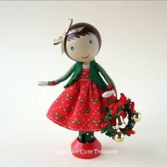 Christmas Clothespin Doll with Tiny Wreath