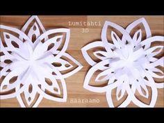 Ohjevideo: Kolmiulotteinen lumitähti paperista. 3D Paper Snowflake Tutorial Christmas Candles, Christmas Wreaths, Christmas Crafts, Christmas Decorations, Christmas Ornaments, Christmas Ideas, Foam Crafts, Diy And Crafts, Paper Crafts