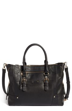 Sole Society Susan Faux Leather Tote - Black Industrial-inspired hardware  gleams against the durable faux leather of a chic tote featuring side zip  gussets ... 8009fe7064