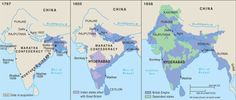 British continuing conquest of India resulted in some areas entirely under British control and other areas under local partner control (dependent states, on this map). India World Map, India Result, Landscape Planner, Pakistan, Modern World History, History Of England, Mughal Empire, World Geography, University Of Virginia