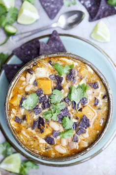 Chicken and Pumpkin Chili ~ A recipe for a hearty Southwest style shredded chicken and pumpkin chili with white and black beans. | www.floatingkitchen.net
