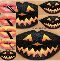 "Love this Halloween lip  Lip Pictorial Step 1. We applied motivescosmetics eye base ""light"" then topped with sugarpillmakeup burning heart palette in ""Love+"" to the bottom of the top and bottom lip. Step 2. Apply ""Flamepoint"" above ""Love+"" Step 3. Apply ""Buttercupcake"" above ""Flamepoint"" Step 4. Draw the outline of your favorite spooky pumpkin face then just fill the outline in, we used colouredraine ""Black Dahlia"" Step 5. Finished!!✨ Motives available US/CAN www.IHEARTMOTIVES.com"