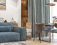 living room and kitchen on Behance Behance, Curtains, Living Room, Interior Design, Kitchen, Furniture, Home Decor, Nest Design, Blinds