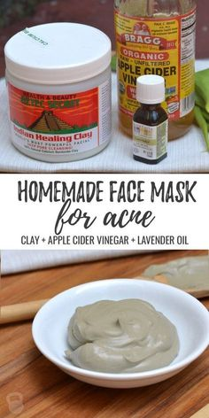 Simple homemade face mask for acne! Mix 1 tbsp bentonite clay + 1 tbsp apple cider vinegar + 1 drop lavender oil and apply to face for 30 minutes. Great for face mask, or spot treatment! #acnescarstreatment