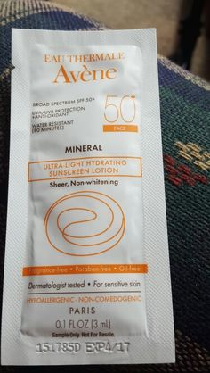 Avene Sample Sunscreen Lotion.