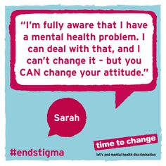 """Just because it's in the head doesn't mean it's not real to the person experiencing it. Just because you can't see a bandage doesn't mean it's not important."" #endstigma"