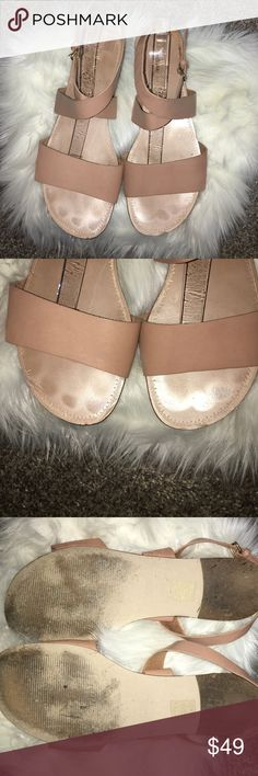 J. Crew blush nude strap sandals Gently used with minor flaws noted in pictures! Adorable color goes with lots this spring and summer! J. Crew Shoes Sandals