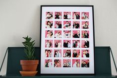 really fun way to display a bunch of pictures -- would be great for photobooth photos from wedding