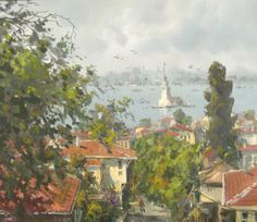 Winter Painting, Urban Landscape, Istanbul, Ottoman, Turkey, Paintings, Artist, House, Turkey Country