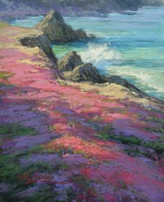 Pink Parade in Pacific Grove by Kim Lordier Pastel ~ 10 x 8