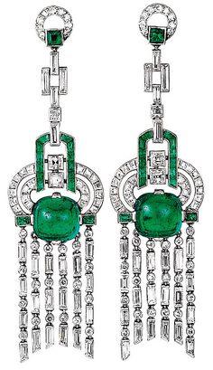 Серьги из архива Van Cleef & Arpels, изумруды и бриллианты, 1923