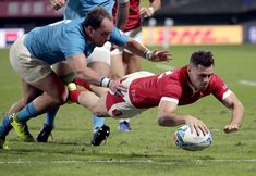 Wales' Tomos Williams scores a try during the Rugby World Cup Pool D game at Kumamoto Stadium between Wales and Uruguay in Kumamoto, Japan, Sunday, Oct. (AP Photo/Aaron Favila) keen to forget Uruguay result and mull quarterfinal Welsh Rugby Team, Gareth Davies, Wales Rugby, Talk Too Much, Kumamoto, Rugby World Cup, Happy Endings, Good News, Japan