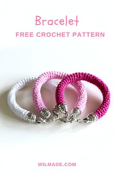 This beautiful #bracelet is a perfect #gift for #mothersday. I love to wear these in #spring and #summer. Free #crochet pattern on wilmade.com (including a video tutorial)