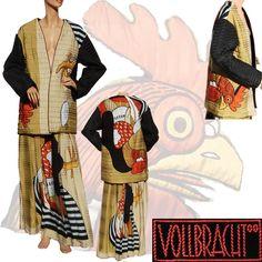 Vintage 1980s Michaele Vollbracht Quilted Silk Jacket & Silk Maxi Skirt Rooster Design -   #RubyLane for sale on Ruby Lane Vintage Fashion