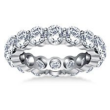 Timeless Round Diamond Decorated Eternity Ring in 14K White Gold (4.50 - 5.10 cttw.) http://balori.com/pins/1109