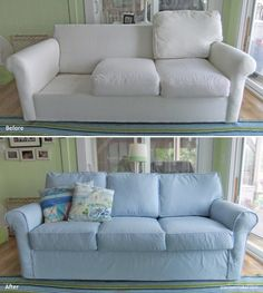 Superieur Sofa Slipcover Makeover With Cotton Twill In The Perfect Shade Of Blue.