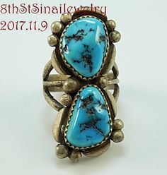 Estate Signed Yazzie Southwestern Sterling Silver 925 Turquoise RING Size 6 #Yazzie #Wrap