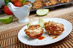 Cheesecake Stuffed Apple Muffins with Streusel Topping and Caramel Sauce. by Closet Cooking Blog.