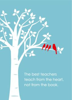 Teacher Gift - Christmas Gift - Inspirational Teaching Quote - Birds on Branch - 5x7 (Red/Blue). $10.00, via Etsy.