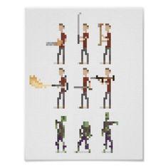 8-Bit Mini Zombie Apocalypse Pixel Art Poster Print