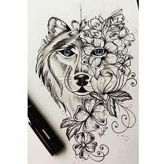 Começando o dia com o lobo da cliente @daniellenmed da cidade de Pirenópolis-GO. Desenho feito com referência de uma outra imagem, executado em papel canson  200 g/m, lobo com rosas e sakuras. #bomdia #tattoo #tatuagem #tattoo2me #inspirationtatto #tatuajes #desenhos #desenhosparatattoo #drawing #drawings #tattoos #lobo #arte #linhafina #joaopessoa #JP #recife #campinagrande #cg #kefo #kefonascimento