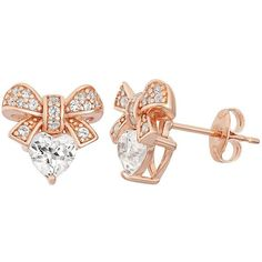 Lab-Created White Sapphire 18k Rose Gold Over Silver Bow & Heart Stud... ($80) ❤ liked on Polyvore