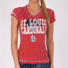 5th & Ocean Clothing Juniors St. Louis Cardinals Relaxed Burnout Tee #VonMaur #5thAndOcean #Red #Cardinals #TeamApparel