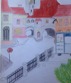 Drawing#old#buildings#old#city#colours#pencils