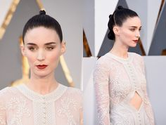 How Rooney Mara Breaks the Oscars Beauty Rules With a Slick Triple Bun and Powerful Makeup