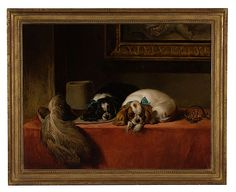 """oil on canvas, after Landseer's famous work painted in 1845, as a commission for Robert Vernon, the owner of the dogs. Inscribed on verso Spaniels of King Charles Breed/painted by/M.S. Offord Exhbtr/after Sir Edwin Landseer R.A./1802-1873. In a period gilt frame; 27"""" high x 35"""" wide"""
