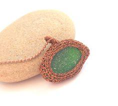 Sea glass jewelry Boho necklace Green seaglass copper chain - @iamjenmasson