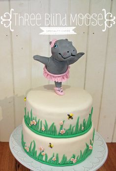 Hippo cake 1st birthday. Ballet and bumblebees by Three Blind Moose Specialty Cakes, Korumburra