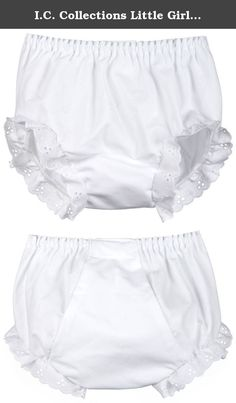 I.C. Collections Little Girls White Double Seat Panty, Size 05. Batiste double seat panty with embroidered eyelet edging. Inserted waist elastic. Bias cut seat.