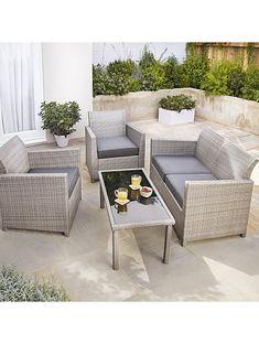 Grey Jakarta Outdoor Sofa Set 4 Piece Garden Sofa Set, Garden Table, Garden Chairs, Outdoor Sofa Sets, Outdoor Furniture Sets, Outdoor Decor, Conservatory Furniture, Garden Furniture, Bistro Patio Set