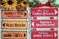 Doubled-Sided Two-in-One Halloween and Christmas Sign Decoration