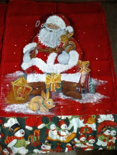 Pintura em tecido papai noel