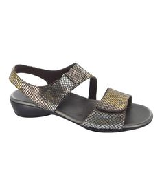 This Pewter Metal Brenna Leather Sandal by Munro Shoes is perfect! #zulilyfinds