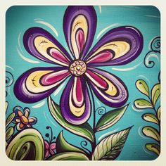 Section of flower doodle painting - Robyn Lamont