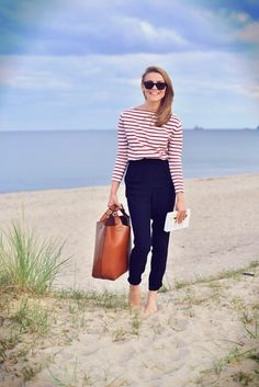 red stripes and navy trousers by the beach #nautical #fashion