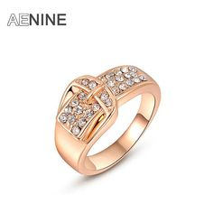 AENINE Fashion AAA+ Rhinestone Belt Buckle Rings For Women/Girls Rose Gold Color Party Rings Jewelry L2010490295