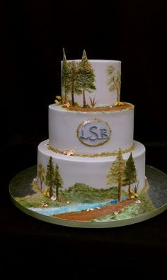 Forest Themed Cakes with Waterfalls | painted forest # wedding # cake learn the art of cake decorating on ...